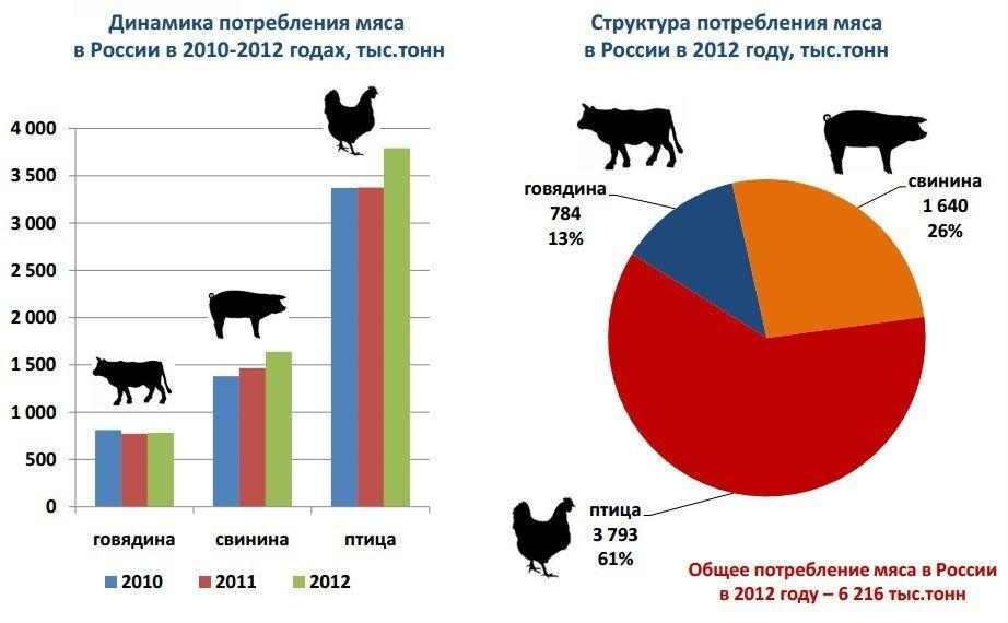 Рис.2. Потребление мяса в России, тыс. тонн.