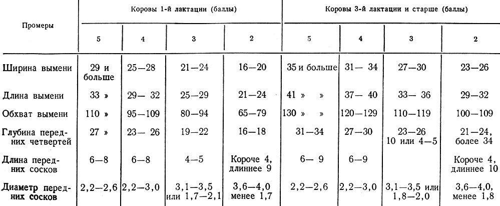 Ориентировочные требования для оценки промеров вымени и сосков (см) в баллах