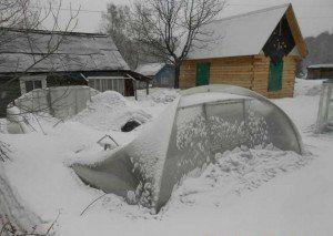 теплицу раздавило снегом