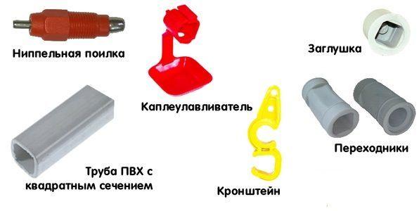 Элементы ниппельной поилки