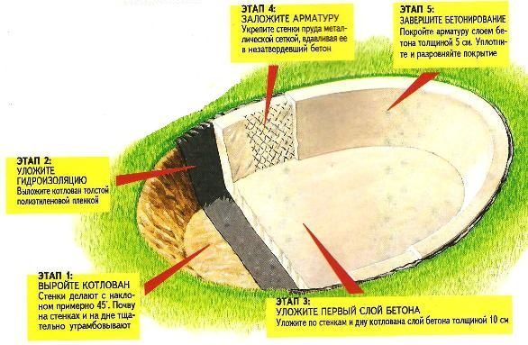 Схема заливки фундамента и стен пруда