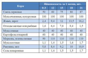 Таблица  Рацион и нормы кормления уток несушек в домашних условиях