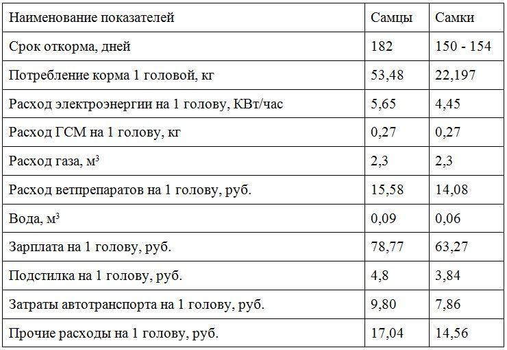 Затраты на выращивание индюков