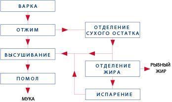 Схема изготовления рыбной муки и жира