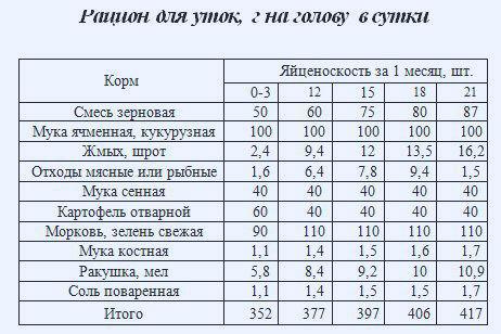Таблица: рацион кормления уток несушек