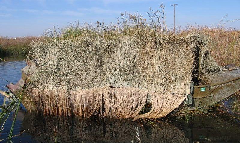 Маскировка лодки для охоты с подъезда