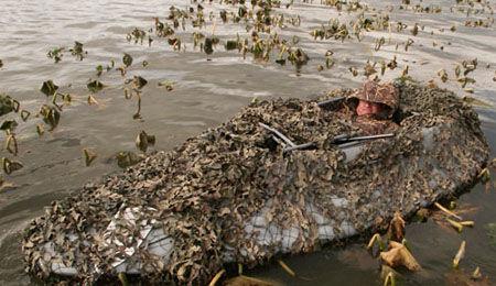 Маскировка лодки на охоте