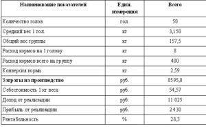 Расчет производственных и экономических показателей