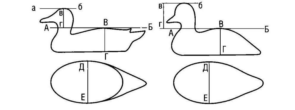 Шаблоны для изготовления чучел утки из фанеры