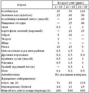Таблица норм кормления утят с 1 по 30 день