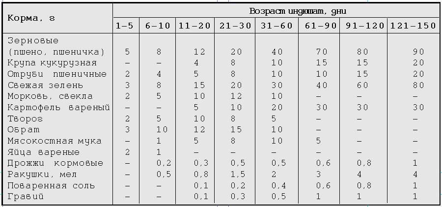 Таблица кормления индюшат