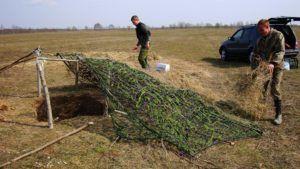 Приготовление засидки в поле