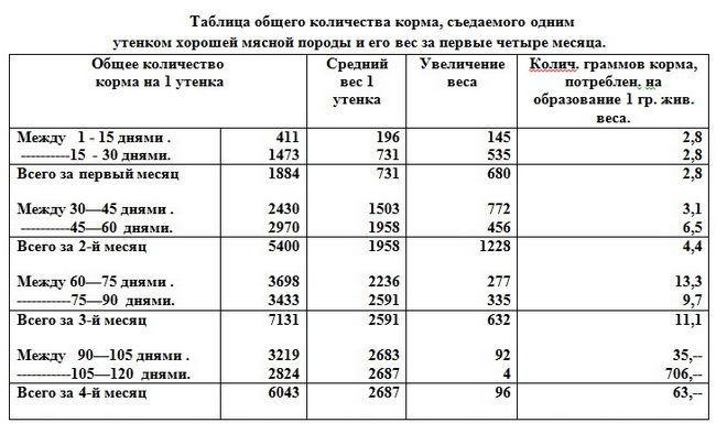 Таблица общего колличества корма, сьедаемого одним утёнком за первые четыри месяца