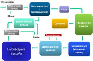 Схема для сборки системы по выращиванию осетра в бассейне