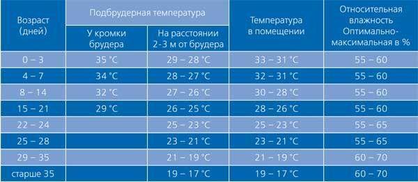 Температура и влажность в брудере
